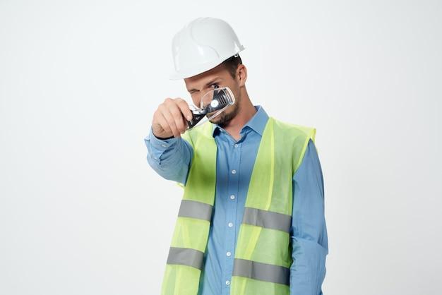 Trabalho profissional de construtores masculinos - luz de fundo