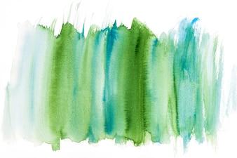 Traçado de pincel aquarela verde e turquesa