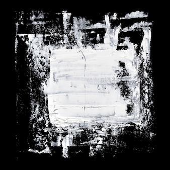 Traçados de pincel branco de grunge em fundo preto