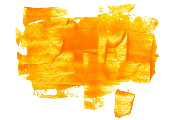 Traçados de pincel laranja expressivos isolados no fundo branco. textura abstrata