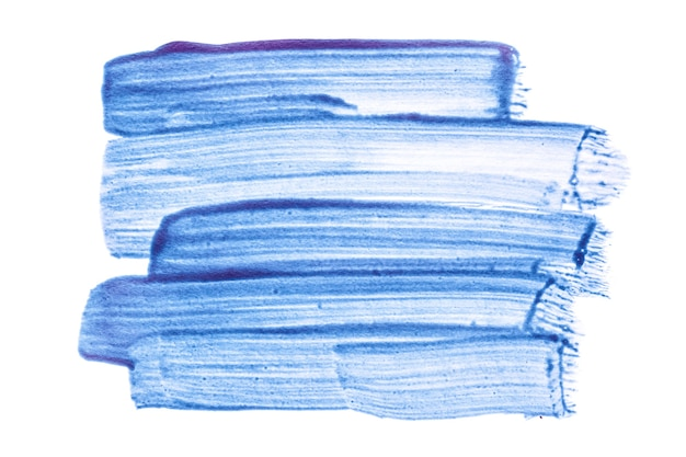 Traçados de pincel translúcido azul claro isolados no fundo branco