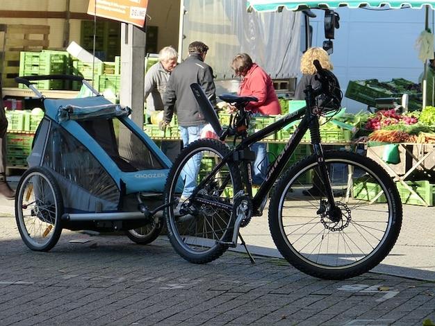 Tração reboques mercado de compras bicicleta