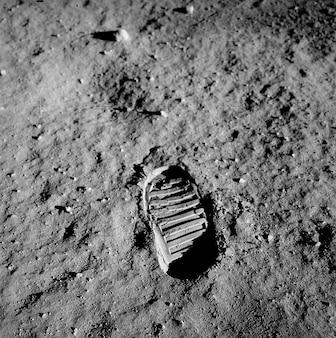 Traçar pegada superfície lunar apollo zumbido aldrin