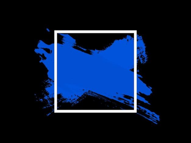 Traços azuis no quadrado branco, isolados no fundo preto. foto de alta qualidade