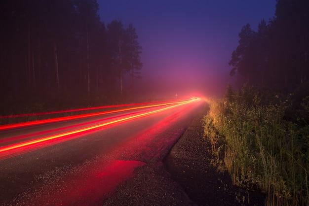 Traços dos faróis na estrada na floresta à noite