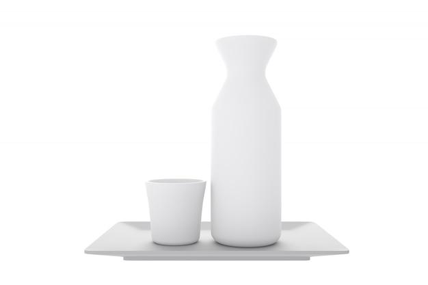 Tradicional japonês com copo e garrafa de causa no fundo branco.