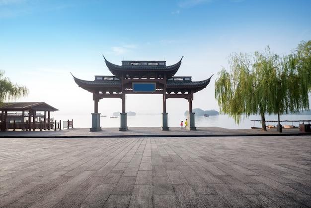 Tradicional, memorial, arco, em, oeste, lakefront, hangzhou, china