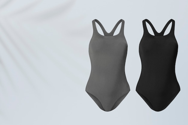 Trajes de banho cinza e preto inteiros, roupas de verão com espaço de design