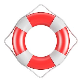 Trajeto de grampeamento boia salva-vidas vermelha e branca com corda