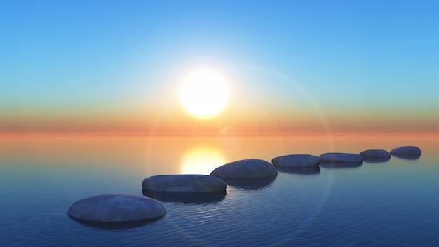Trampolins 3d no oceano ao pôr do sol