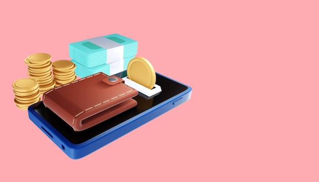 Transação online via smartphone, envio e recebimento de moedas e conceito de pagamento online. ilustração 3d