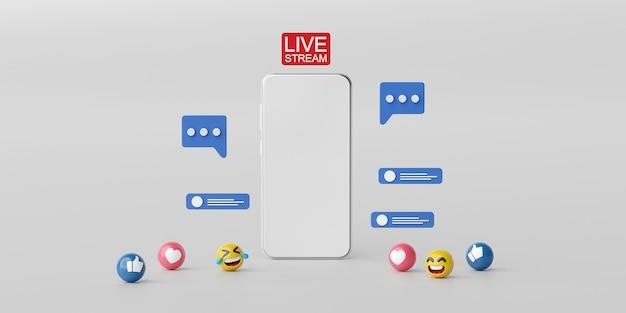 Transmissão ao vivo em aplicativo de mídia social no smartphone