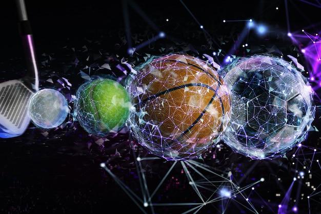 Transmissão ao vivo pela internet de uma partida de futebol, basquete, tênis e golfe
