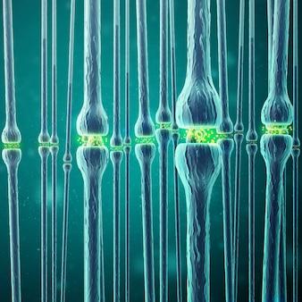 Transmissão sináptica, sistema nervoso humano. renderização em 3d
