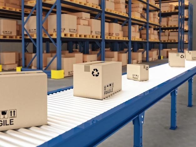 Transportador com caixas
