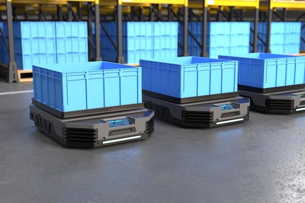 Transporte autônomo de robôs em depósitos conceito de automação de depósitos