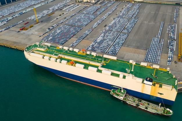 Transporte de carga e descarga de carros importam e exportam negócios de serviços internacionais