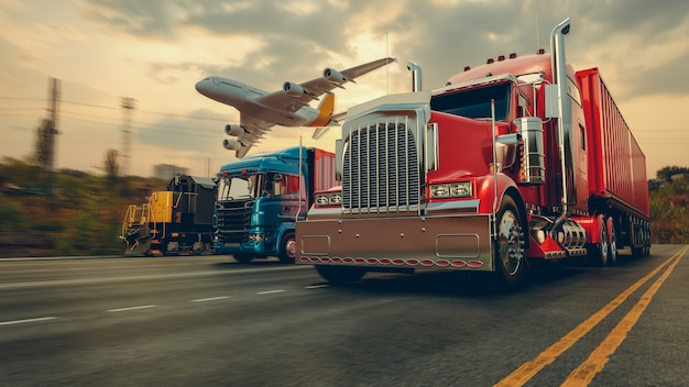 Transporte e logística de navio e avião de carga porta-contêineres