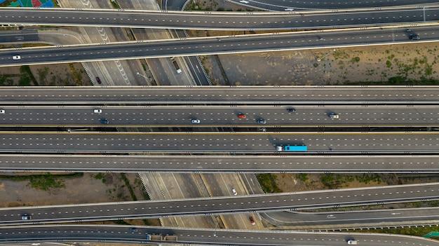 Transporte, junção cidade, estrada, com, car, ligado, interseção, cruze estrada, tiro, por, zangão