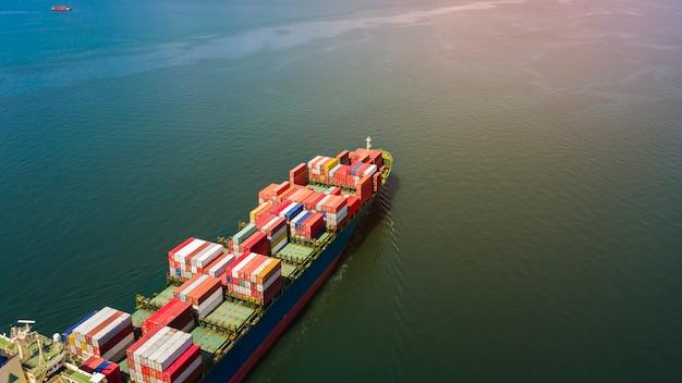Transporte, recipiente, carga, negócio, internacional, importação, exportação, produto consumidor, mar aberto
