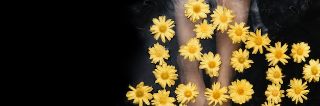 Tratamento de banho e terapia floral