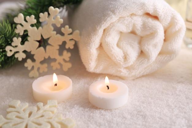 Tratamento de spa com enfeites de natal