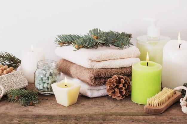 Tratamentos de spa na parede de madeira