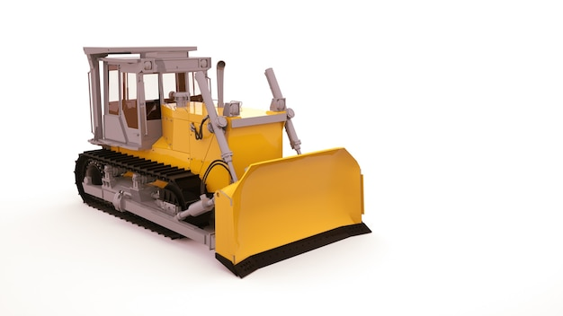 Trator amarelo moderno, objeto de ilustração isolado no fundo branco. maquinaria agrícola, grande trator, ilustração 3d.