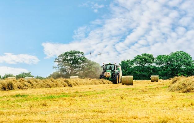 Trator cortando feno no horário de verão contra o céu azul nublado, palheiros no campo