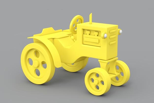 Trator de brinquedo amarelo em estilo duotônico em um fundo cinza. renderização 3d