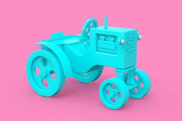 Trator de brinquedo azul no estilo duotone em um fundo rosa. renderização 3d