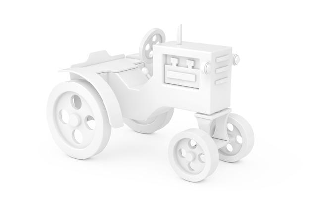 Trator de brinquedo branco em estilo clay em um fundo branco. renderização 3d