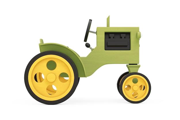 Trator de brinquedo de madeira em um fundo branco. renderização 3d
