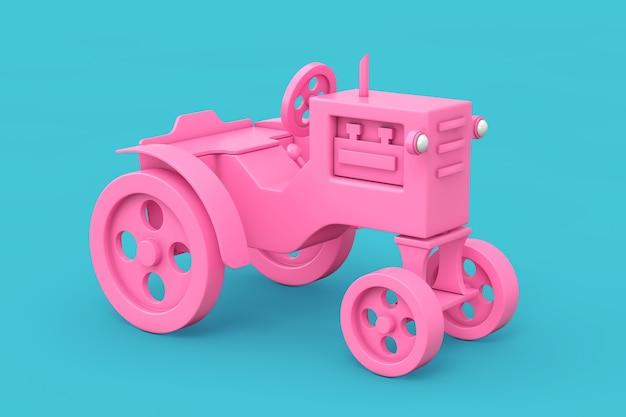 Trator de brinquedo rosa no estilo duotone sobre um fundo azul. renderização 3d