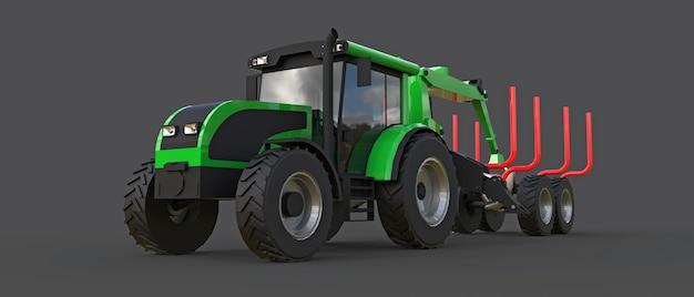 Trator verde com um reboque para registrar em um fundo cinza. renderização 3d.