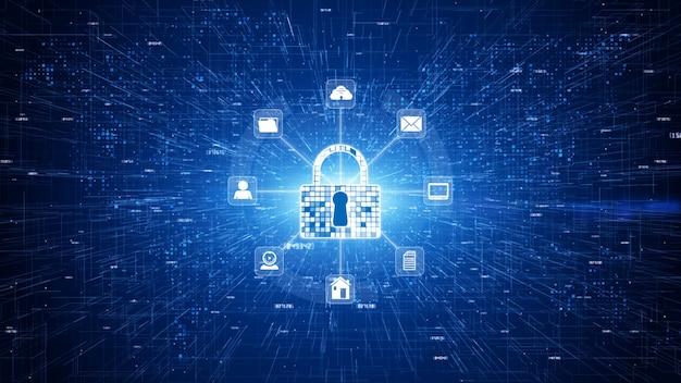 Trave a segurança do cyber do ícone, proteção de rede de dados de digitas, conceito futuro do fundo da rede da tecnologia.