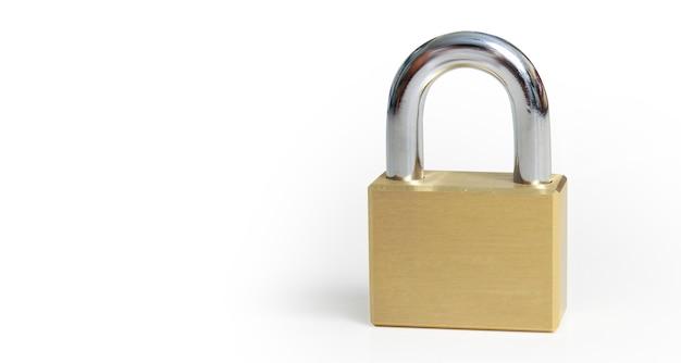 Trave na segurança do conceito de proteção de fundo branco