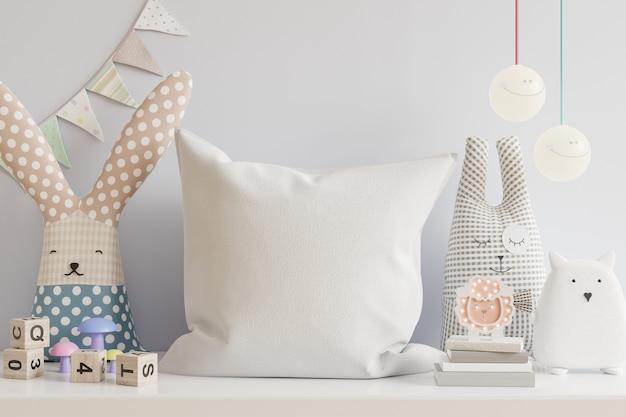 Travesseiro no quarto das crianças sobre fundo de parede em tons de azul claro. renderização 3d