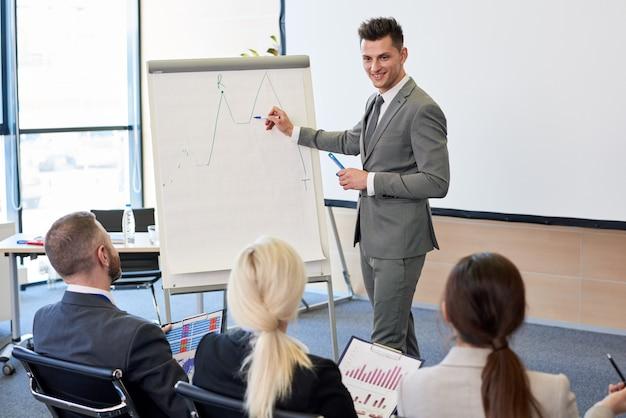 Treinador de negócios, apontando para o gráfico
