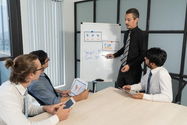 Treinador de negócios confiante, explicando as técnicas de vendas na reunião.