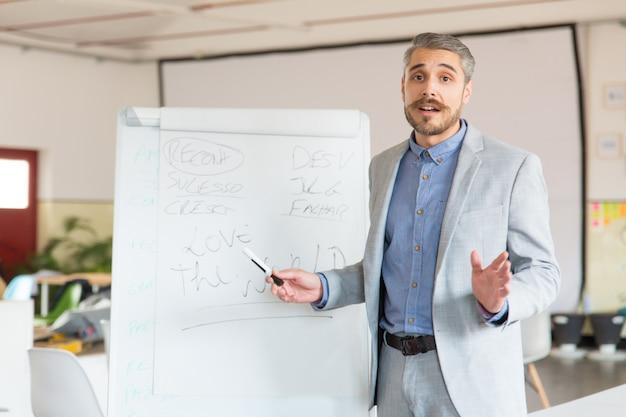 Treinador de negócios em pé perto de quadro branco