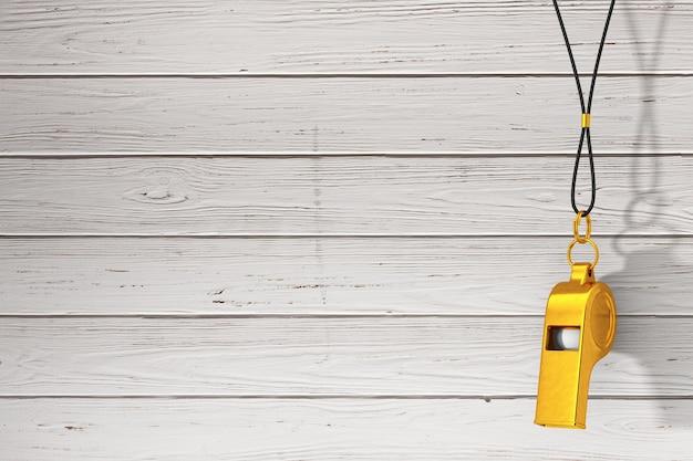 Treinadores de metal dourado clássico apito pendurado na corda vermelha em um fundo de pranchas de madeira. renderização 3d