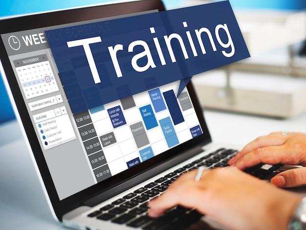 Treinamento, coaching, mentoring development concept