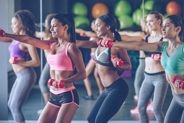 Treine ou permaneça o mesmo. jovens mulheres bonitas em roupas esportivas com corpos perfeitos se exercitando com halteres na academia