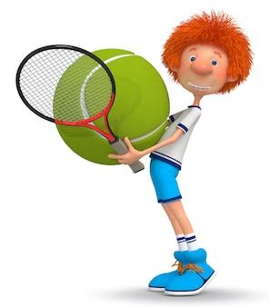 Treino em quadra de tênis do jovem atleta