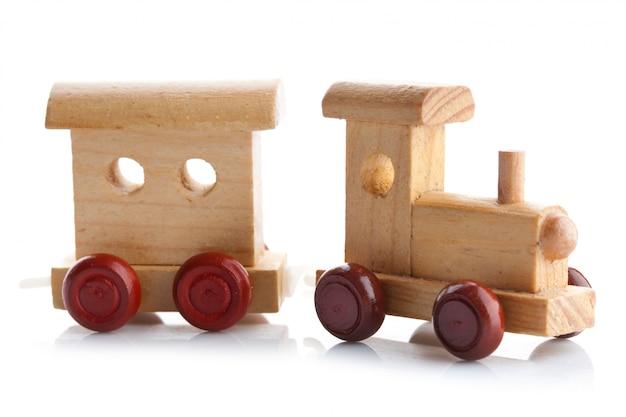 Trem de brinquedo de madeira