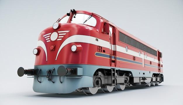 Trem nostaliga. locomotiva a diesel isolada no branco. renderização em 3d