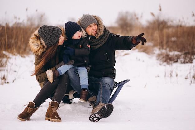 Trenó de família em um parque de inverno