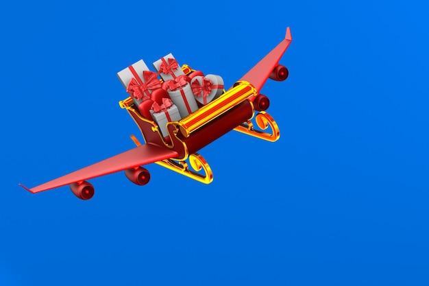 Trenó de natal vermelho com caixas de presente em azul. ilustração 3d isolada