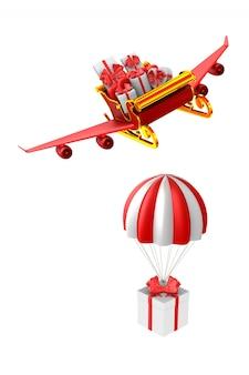 Trenó de natal vermelho com caixas de presente em branco. ilustração 3d isolada